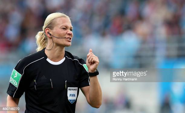 Referee Bibiana Steinhaus reacts during the DFB Cup first round match between Chemnitzer FC and FC Bayern Muenchen at community4you Arena on August...