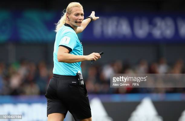 Referee Bibiana Steinhaus reacts during the FIFA U20 Women's World Cup France 2018 group B match between Brazil and Korea DPR at Stade GuyPiriou on...