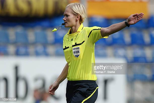 Referee Bibiana Steinhaus reacts during the Third League match between Arminia Bielefeld and 1 FC Saarbruecken at the Schueco Arena on September 17...