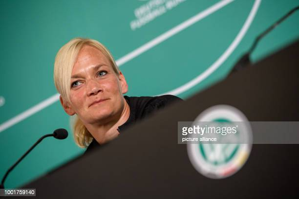 Referee Bibiana Steinhaus speaks during a press conference of the Deutscher FussballBund on the occasion of the preperational week of the Bundesliga...