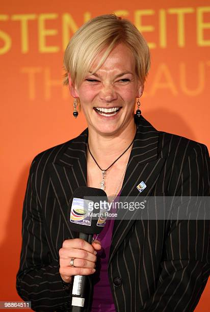 Referee Bibiana Steinhaus talsk to the audience during the FIFA Women's World Cup 2011 Countdown event at the Volkswagen Arena on May 5 2010 in...