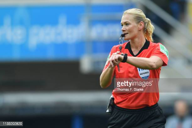 Referee Bibiana Steinhaus whistles during the Second Bundesliga match between SC Paderborn 07 and FC St Pauli at Benteler Arena on March 02 2019 in...