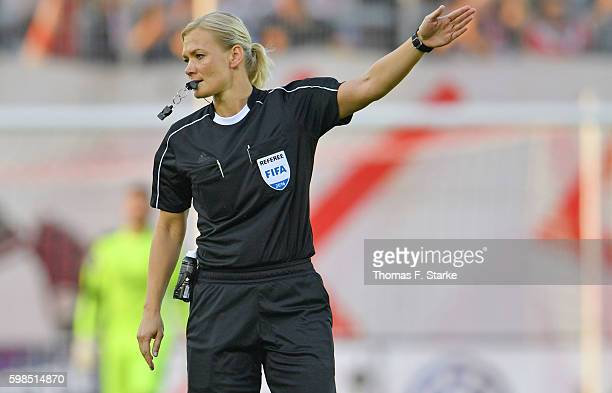 Referee Bibiana Steinhaus whistles during the Third League match between FSV Zwickau and 1 FC Magdeburg at Stadion Zwickau on September 1 2016 in...
