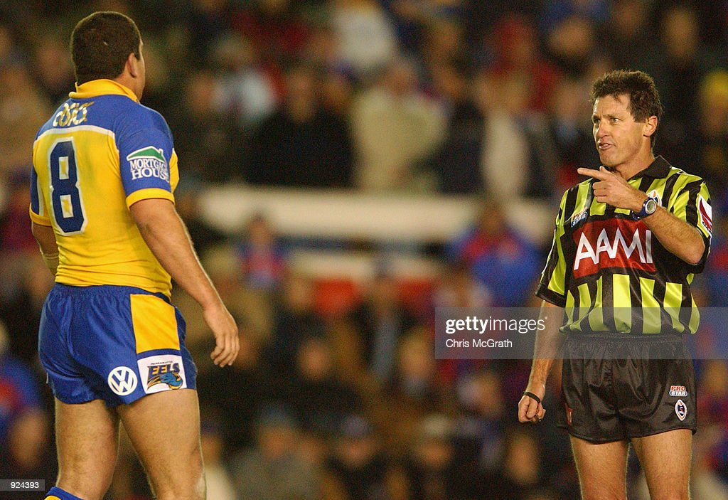 Referee Bill Harrigan lets Eels captain Nathan Cayless #8 for the Eels know who's boss during the Round 17 NRL match between the Newcastle Knights and the Parramatta Eels held at Energy Australia Stadium, Newcastle, Australia on July 05, 2002.