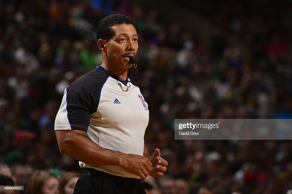 Referee Bill Kennedy stands on the court during a game between the Cleveland Cavaliers and Boston Celtics on April 12, 2015 at the TD Garden in Boston, Massachusetts.