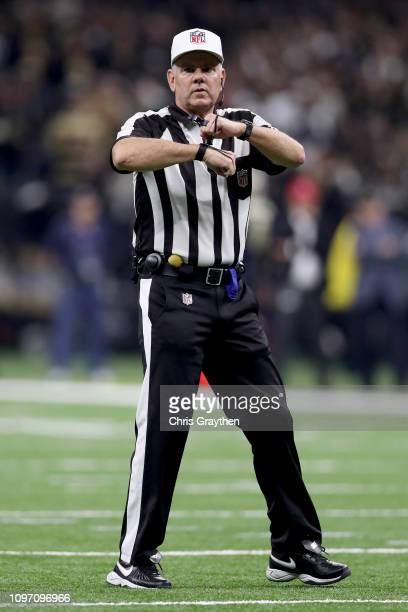 Referee Bill Vinovich calls a false start during the second quarter in the NFC Championship game between the Los Angeles Rams and the New Orleans...
