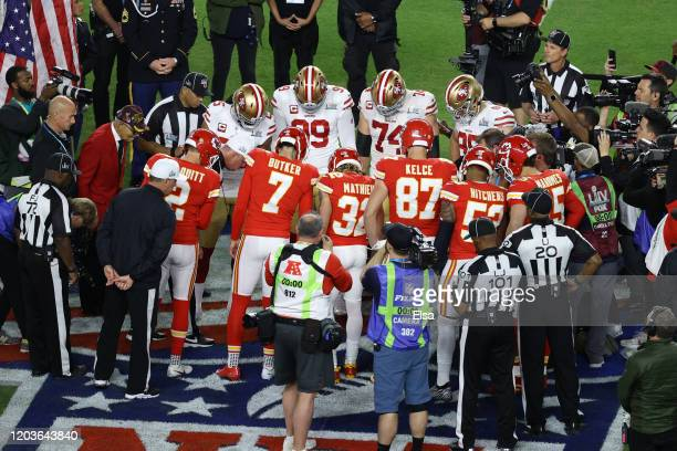 Referee Bill Vinovich toss the coin prior to Super Bowl LIV between the San Francisco 49ers and the Kansas City Chiefs at Hard Rock Stadium on...