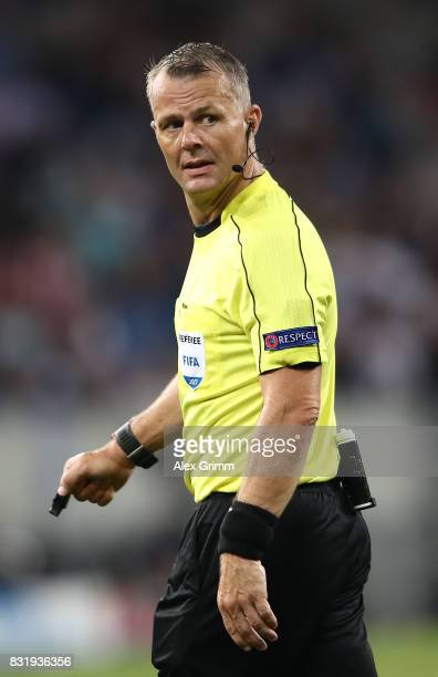 Referee Bjoern Kuipers during the UEFA Champions League Qualifying PlayOffs Round First Leg match between 1899 Hoffenheim and Liverpool FC at Wirsol...