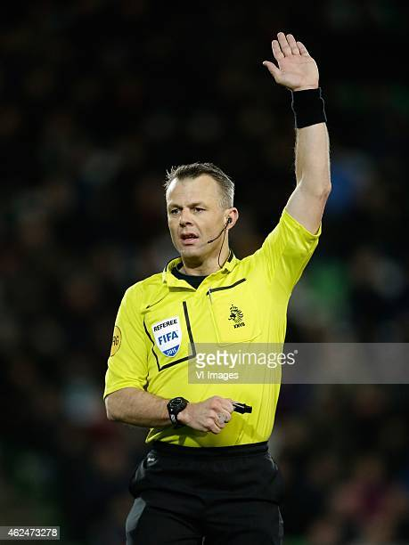 referee Bjorn Kuipers during the Dutch Cup match between FC Groningen and Vitesse Arnhem at Euroborg on January 28 2015 in Groningen The Netherlands