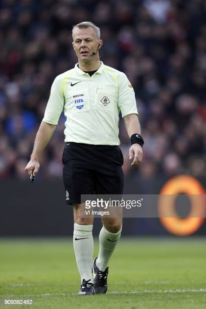 referee Bjorn Kuipers during the Dutch Eredivisie match between Ajax Amsterdam and Feyenoord Rotterdam at the Amsterdam Arena on January 21 2018 in...