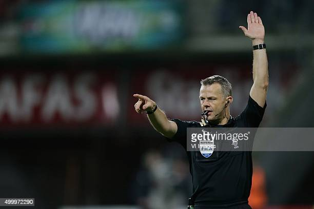 referee Bjorn Kuipers during the Dutch Eredivisie match between AZ Alkmaar and ADO Den Haag at AFAS stadium on December 4 2015 in Alkmaar The...