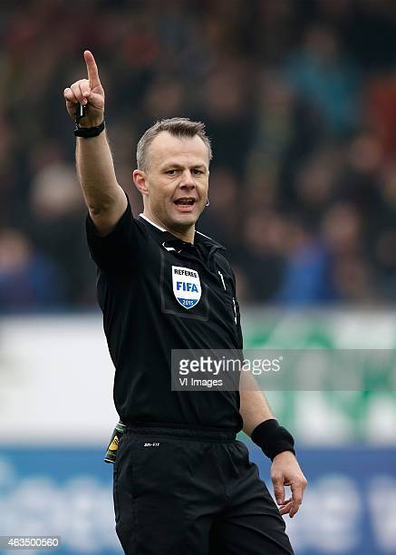 Referee Bjorn Kuipers during the Dutch Eredivisie match between SC Cambuur Leeuwarden and SC Heerenveen at the Cambuur Stadium on February 15 2015 in...