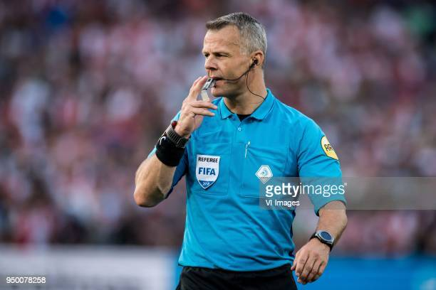 referee Bjorn Kuipers during the Dutch Toto KNVB Cup Final match between AZ Alkmaar and Feyenoord on April 22 2018 at the Kuip stadium in Rotterdam...