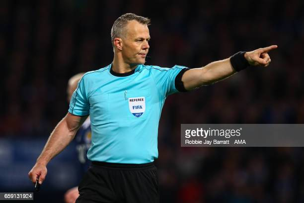 Referee Bjorn Kuipers during the FIFA 2018 World Cup Qualifier between Scotland and Slovenia at Hampden Park on March 26 2017 in Glasgow Scotland