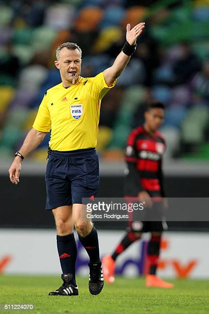 Referee Bjorn Kuipers during the match between Sporting CP and Bayer Leverkusen for UEFA Europa League Round of 32 First Leg on February 18 2016 in...