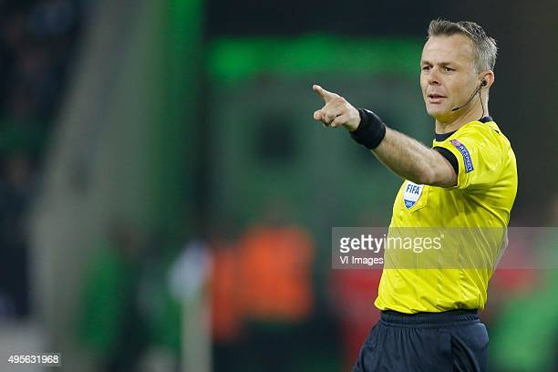 Referee Bjorn Kuipers during the UEFA Champions League group D match between Borussia Mönchengladbach and Juventus Turin on November 03 2015 at...