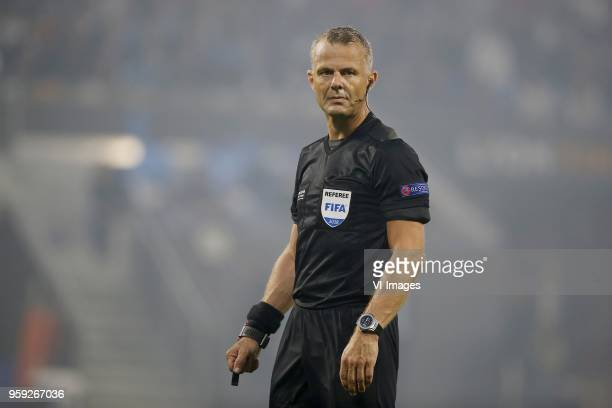 referee Bjorn Kuipers during the UEFA Europa League final match between Olympique Marseille and Atletico de Madrid at Stade de Lyon on May 16 2018 in...