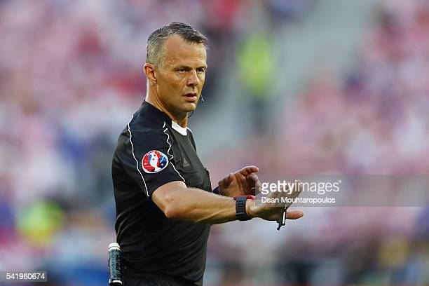 Referee Bjorn Kuipers gestures during the UEFA EURO 2016 Group D match between Croatia and Spain at Stade Matmut Atlantique on June 21 2016 in...