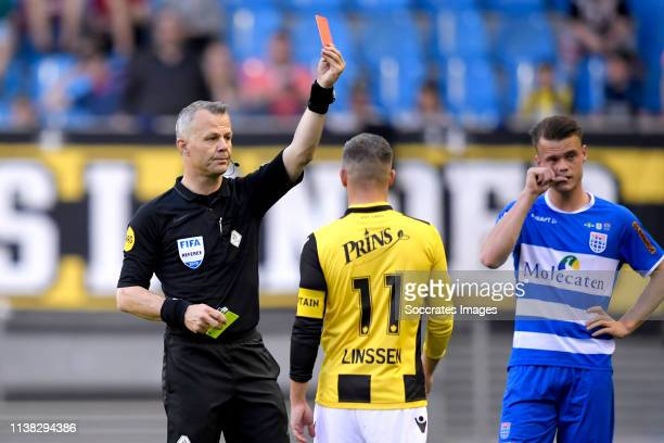 referee Bjorn Kuipers gives a red card during the Dutch Eredivisie match between Vitesse v PEC Zwolle at the GelreDome on April 20 2019 in Arnhem...