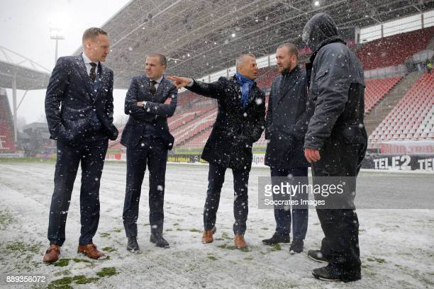 referee Bjorn Kuipers inspects the pitch during heavy snow inside FC Utrecht stadium during the Dutch Eredivisie match between FC Utrecht v Feyenoord...