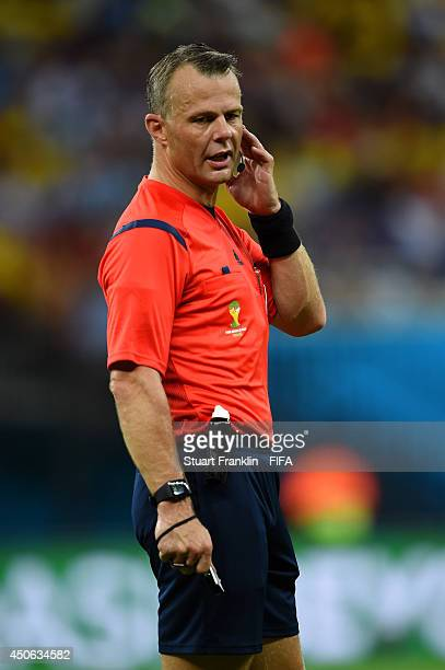 Referee Bjorn Kuipers looks on during the 2014 FIFA World Cup Brazil Group D match between England and Italy at Arena Amazonia on June 14 2014 in...