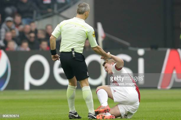 referee Bjorn Kuipers Matthijs de Ligt of Ajax during the Dutch Eredivisie match between Ajax v Feyenoord at the Johan Cruijff Arena on January 21...
