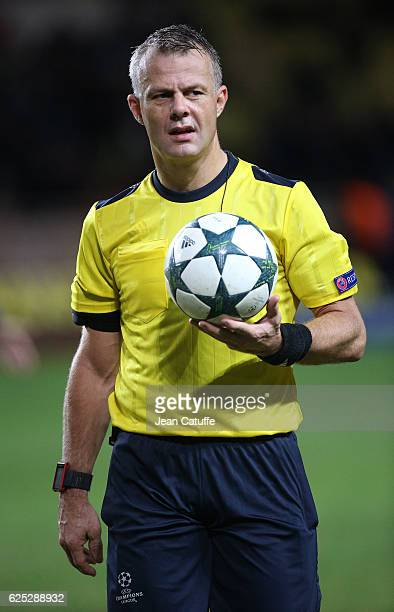 Referee Bjorn Kuipers of the Netherlands looks on during the UEFA Champions League match between AS Monaco FC and Tottenham Hotspur FC at Stade Louis...
