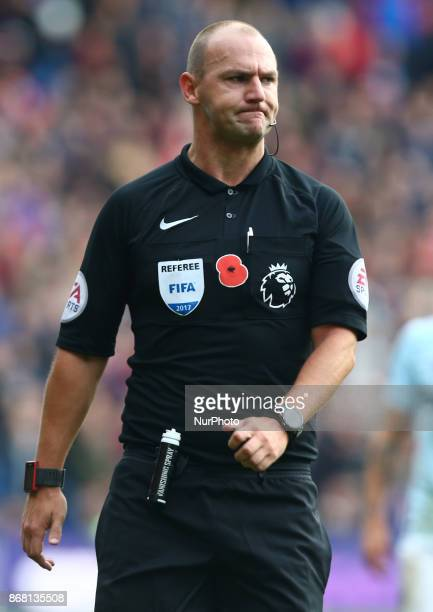 Referee Bobby Madley during Premier League match between Crystal Palace and West Ham United at Selhurst Park Stadium London England on 28 Oct 2017