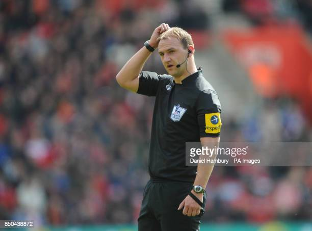 Referee Bobby Madley during the Barclays Premier League match at St Marys Southampton