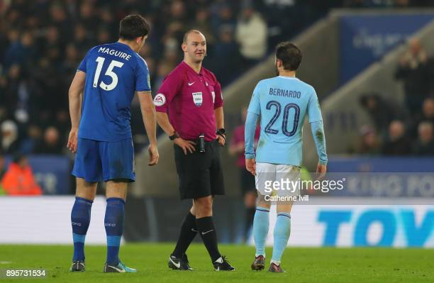 Referee Bobby Madley during the Carabao Cup QuarterFinal match between Leicester City and Manchester City at The King Power Stadium on December 19...