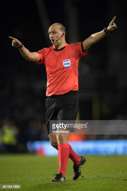 Referee Bobby Madley during the International Friendly match between Australia and Colombia at Craven Cottage on March 27 2018 in London England