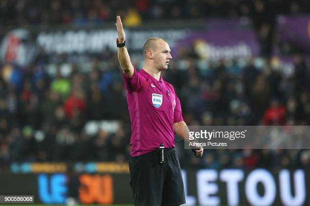 Referee Bobby Madley during the Premier League match between Swansea City and Tottenham Hotspur at the Liberty Stadium on January 02 2018 in Swansea...