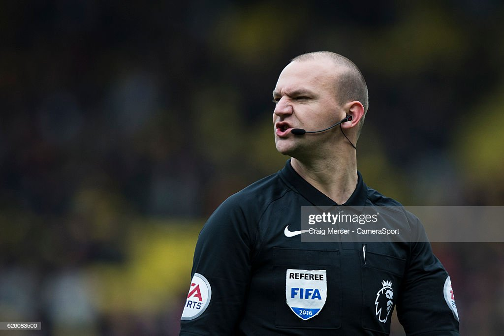 Referee Bobby Madley during the Premier League match between Watford and Stoke City at Vicarage Road on November 27, 2016 in Watford, England.