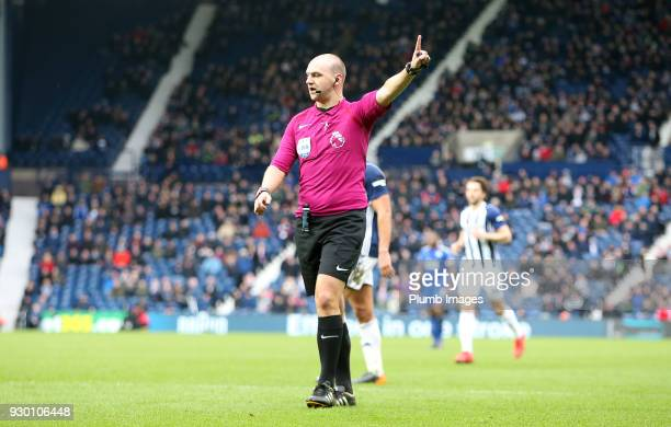 Referee Bobby Madley during the Premier League match between West Bromwich Albion and Leicester City at The Hawthorns on March 10th 2018 in West...