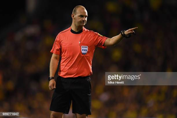 Referee Bobby Madley in action during the International Friendly between Australia and Colombia at Craven Cottage on March 27 2018 in London England