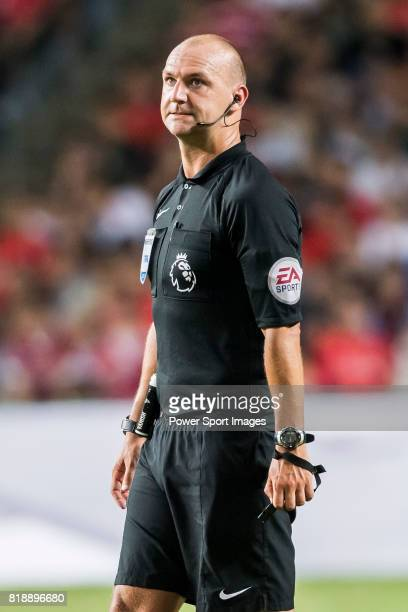 Referee Bobby Madley reacts during the Premier League Asia Trophy match between Liverpool FC and Crystal Palace FC at Hong Kong Stadium on July 19...