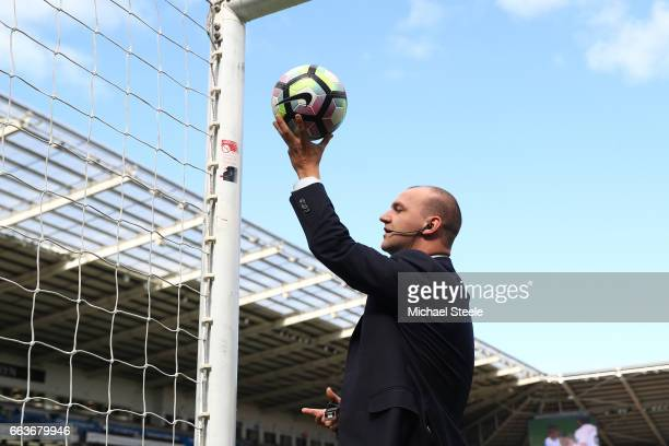 Referee Bobby Madley tests the goal line technology prior to the Premier League match between Swansea City and Middlesbrough at the Liberty Stadium...