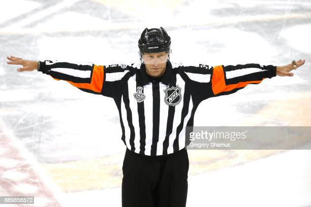 Referee Brad Meier recalls the goal of the Nashville Predators after review in Game One of the 2017 NHL Stanley Cup Final against the Pittsburgh...