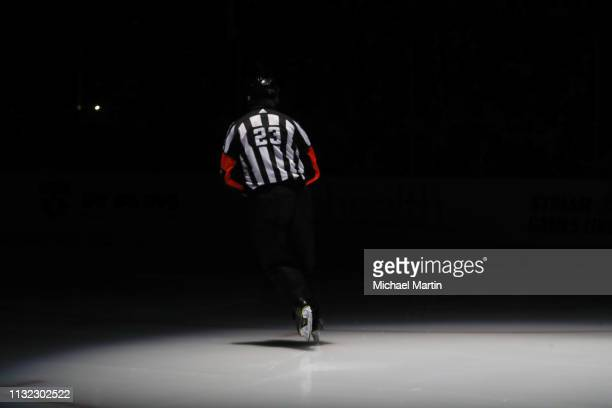 Referee Brad Watson skates in his 1393rd and final NHL game at the Pepsi Center on March 23 2019 in Denver Colorado