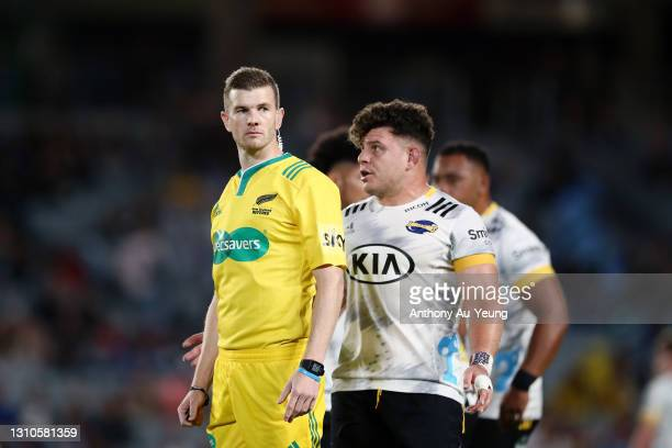 Referee Brendon Pickerill looks on as Ricky Riccitelli of the Hurricanes tries to get his attention during the round 6 Super Rugby Aotearoa match...