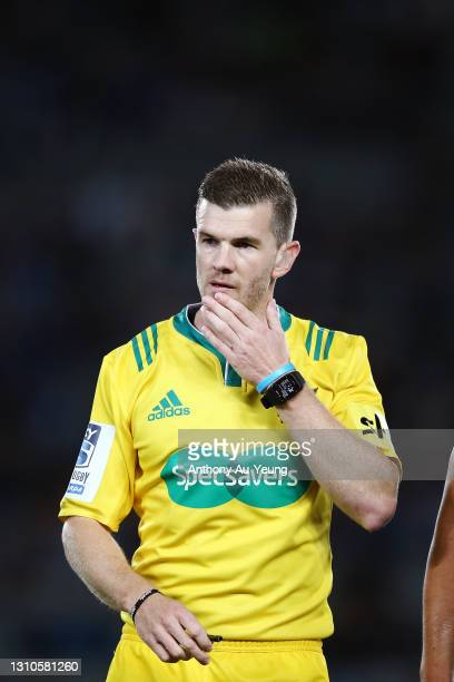 Referee Brendon Pickerill looks on during the round 6 Super Rugby Aotearoa match between the Blues and the Hurricanes at Eden Park, on April 03 in...