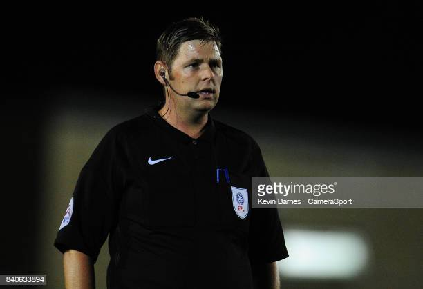 Referee Brett Huxtable during the Checkatrade Trophy Southern Section Group E match between Forest Green Rovers and Newport County on August 29 2017...