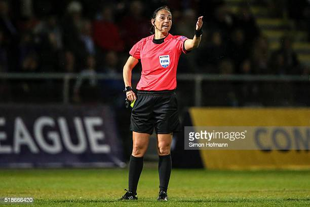 Referee Carina Vitulano gestures during the UEFA Women's Champions League quarter final second leg match between 1 FFC Frankfurt and FC Rosengard at...