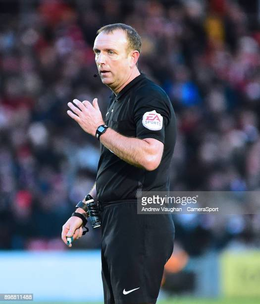 Referee Carl Boyeson during the Sky Bet League Two match between Lincoln City and Stevenage at Sincil Bank Stadium on December 26 2017 in Lincoln...