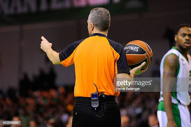Referee Carmelo Paternico in action during the 20132014 Turkish Airlines Euroleague Regular Season Date 8 game between JSF Nanterre v FC Barcelona at...