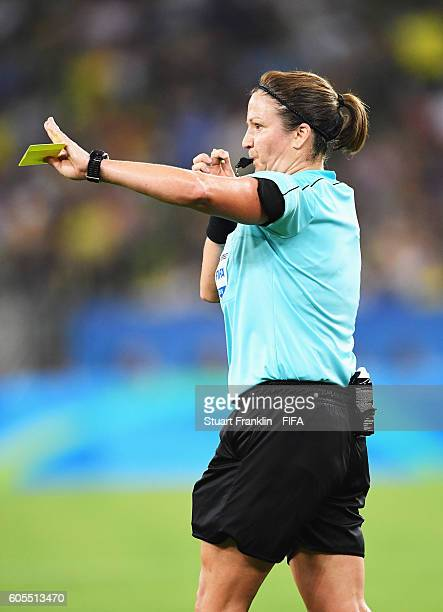 Referee Carol Anne Chenard gestures during the Olympic Women's Football final between Sweden and Germany at Maracana Stadium on August 19 2016 in Rio...