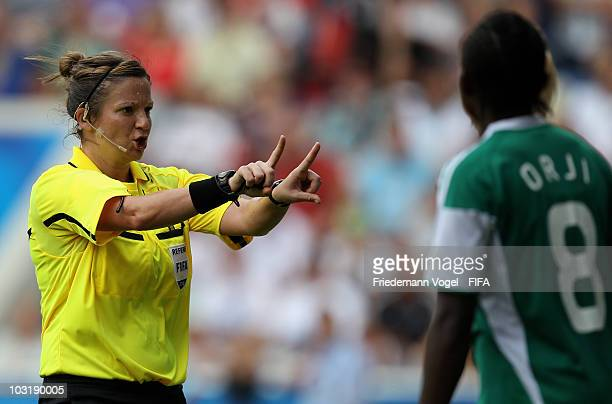 Referee Carol Anne Chenard gives advise during the FIFA U20 Women's World Cup Final match between Germany and Nigeria at the FIFA U20 Women's World...