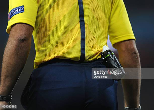 Referee carries white line spray can during the UEFA Champions League Qualifing match between Arsenal and Besiktas at Emirates Stadium on August 27...