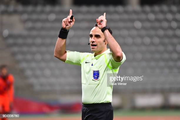 Referee Cedric Dos Santos during the Ligue 2 match between Paris FC and Bourg en Bresse at Stade Charlety on January 12 2018 in Paris France