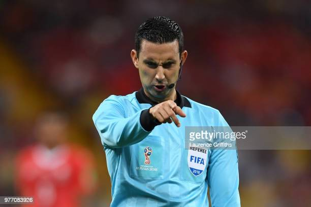 Referee Cesar Ramos gives instructions during the 2018 FIFA World Cup Russia group E match between Brazil and Switzerland at Rostov Arena on June 17...